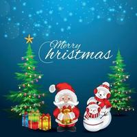 Merry christmas invitation greeting card with vector illustration of santa clous