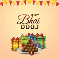 feliz bhai dooj tarjeta de felicitación del festival indio con regalos vectoriales y dulces vector
