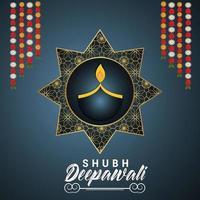 Ilustración vectorial del concepto de diseño de invitación feliz diwali sobre fondo creativo vector