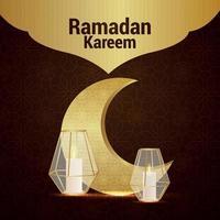 Golden pattern moon with crystal lantern for ramadan kareem invitation card vector