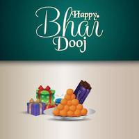 feliz bhai dooj invitación celebración tarjeta de felicitación con pooja thali y regalos vector