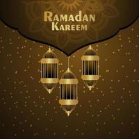 Ramadan kareem mubarak invitation greeting card on shiny background with golden lantern vector