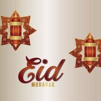 Eid mubarak celebration greeting card with creative pattern lantern on white background vector