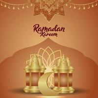 Islamic festival ramadan kareem vector illustration with creative arabic lantern