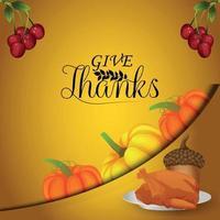 feliz día de acción de gracias ilustración vectorial vector pumpkinon fondo creativo