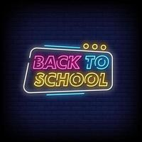 Back To School Neon Signs Style Text Vector