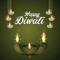 Happy diwali indian festival of light with glowing diwali diya on creative background vector