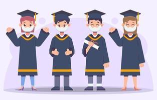 colección de personajes de estudiantes de graduación vector