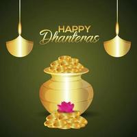 Shubh dhanteras invitation greeting card with vector illustration of gold coin pot