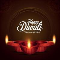 Happy diwali indian festival of light with glowing diwali diya on creative background vector