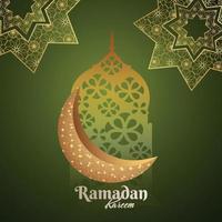 Ramadan kareem invitation card design with pattern arabic lantern vector