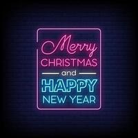 Merry Christmas Neon Signs Style Text Vector