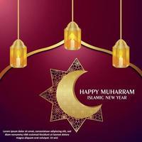 Happy muharram islamic new year with arabic pattern golden moon and lantern vector