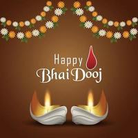 feliz bhai dooj tarjeta de felicitación de invitación al festival indio con diwali diya vector