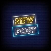 New Post Neon Signs Style Text Vector