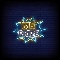 Big Prize Neon Signs Style Text Vector