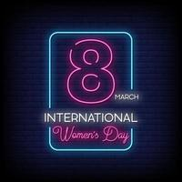 International Women Day Neon Signs Style Text Vector