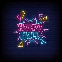 Happy Holi Neon Signs Style Text Vector