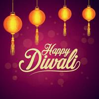 Happy diwali celebration greeting card with creative diwali lamp on creative background vector
