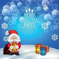 Merry christmas party background with vector illustration and gifts
