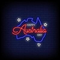 Happy Australia Day Neon Signs Style Text Vector