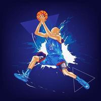 basketball slam dunk splatter painting vector
