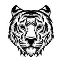 black and white tiger head illustration vector