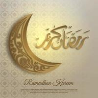 tarjeta de felicitación de ramadan kareem con media luna dorada vector