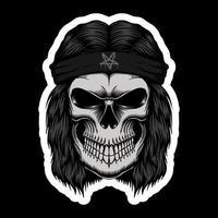 Skull Rocker head stickers vector illustration