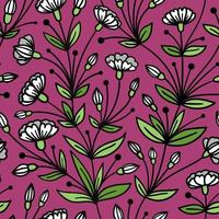 SEAMLESS PURPLE PATTERN WITH TRAILING WHITE FLOWERS vector