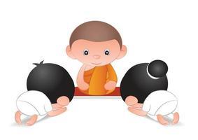 Big bubble head cartoons pay respect to monk vector