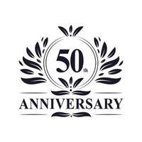 Celebración del 50 aniversario, diseño de logotipo de aniversario de 50 años de lujo. vector