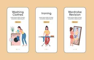 Clothes revision onboarding mobile app screen flat vector template