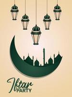 Plantilla de diseño plano de volante de fiesta iftar con adornos planos creativos sobre fondo creativo vector