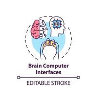 Icono de concepto de interfaces de computadora cerebral vector