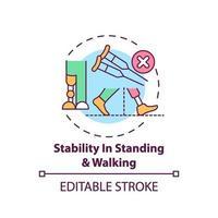 estabilidad en el icono de concepto de pie y caminar vector