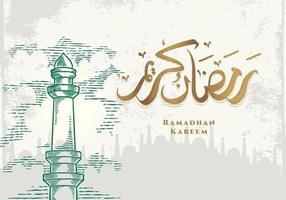 tarjeta de felicitación de ramadan kareem con torre de la mezquita verde vector