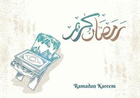 Ramadan Kareem greeting card with green quran vector