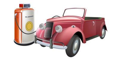 Vintage car refueling vector