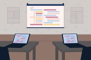 Seminar for developers flat color vector illustration