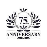 Celebración del 75 aniversario, lujoso diseño de logotipo de aniversario de 75 años. vector