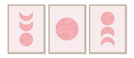 Mid century modern minimalist art print with organic natural shape. Abstract contemporary aesthetic background with geometric Moon phases. Boho wall decor. vector