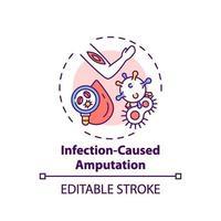 icono de concepto de amputación causada por infección vector
