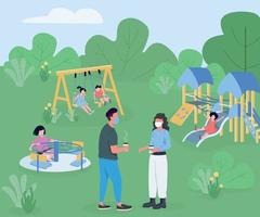 Playground during pandemic flat color vector illustration