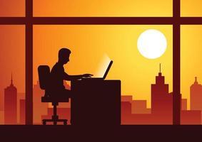 businessman working overtime vector