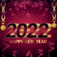Tarjeta de felicitación de celebración de feliz año nuevo con efecto de texto creativo sobre fondo hermoso vector
