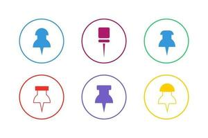 Colorful Pin Icon Set vector