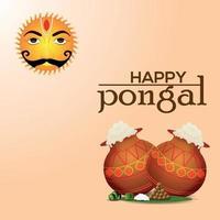 feliz diseño de celebración del festival del sur de la india pongal vector