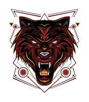 Red wolf logo, wolves vector, head wolf illustration for t shirt, wall decoration, phone case and other design vector