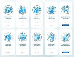 Pantalla de la página de la aplicación móvil de incorporación de recuperación protésica con conjunto de conceptos vector